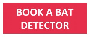 Book a bat detector button in red with white text